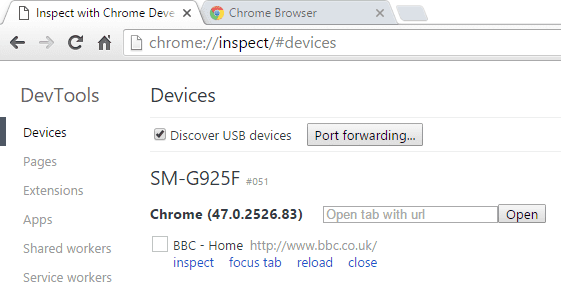 Google Chrome Inspect Devices