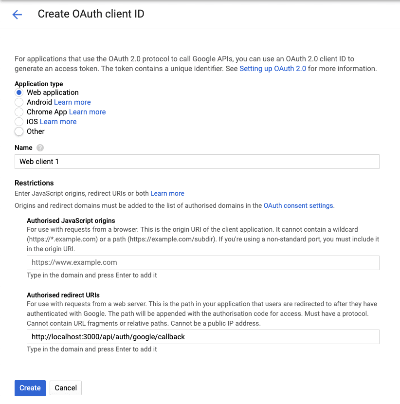 Google Developers Console - Authorised Redirect UI